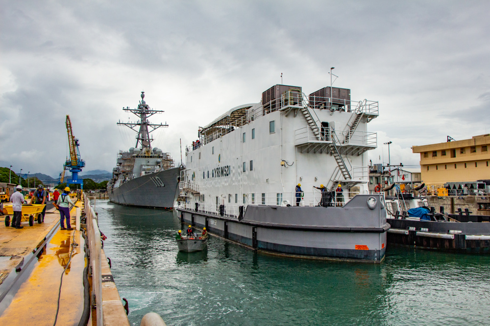HRMC Docks USS William P. Lawrence For Maintenance Availability