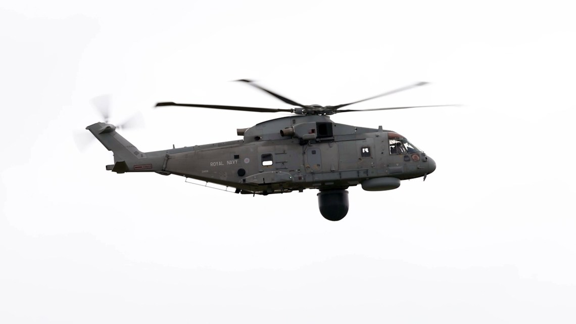 """Royal Navy's Merlin """"Crowsnest"""" Helicopter"""
