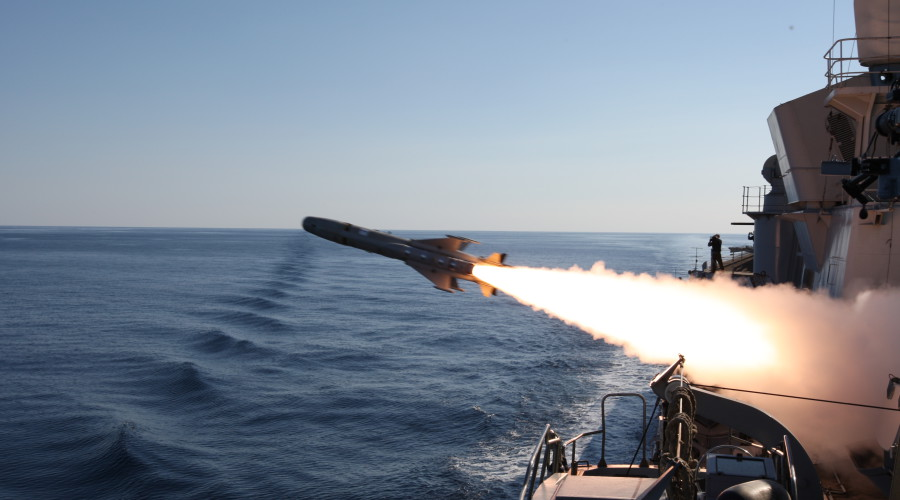 Teseo MK2A anti-ship missile firing from Italian Navy Durand de la Penne Destroyer