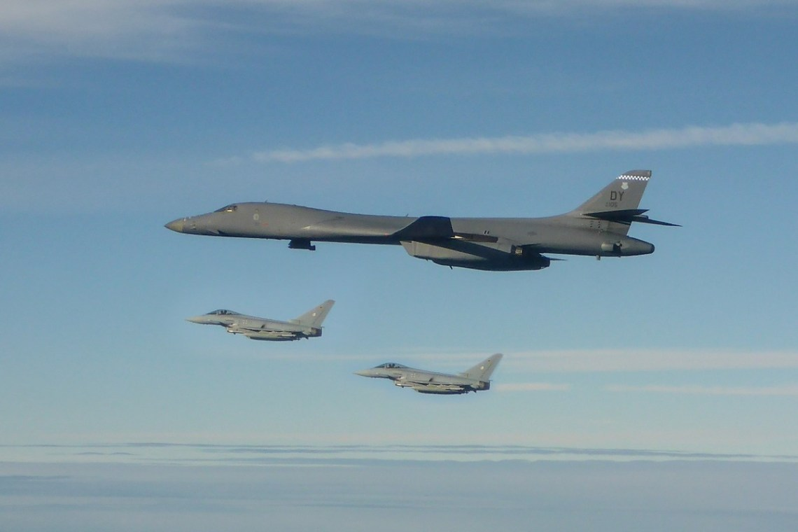 """A German Air Force Eurofighter twoship took off from Ã""""mari Air Base in Estonia, to conduct integration training and practice formation flying with a U.S. Air Force B-1B bomber."""