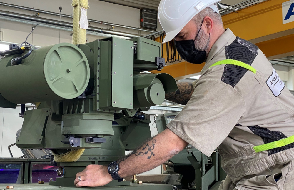 A mechanic at Coleman worksite installs a new, upgraded, lower-profile Common Remotely Operated Weapon Station on an armored vehicle at the Army Prepositioned Stock-2 worksite on Coleman Barracks. The 405th Army Field Support Brigade's Army Field Support Battalion-Mannheim is responsible for the storage, maintenance and upgrades of all the vehicles and equipment stored at their two APS-2 sites. The battalion is also prepared to issue the equipment and vehicles at a moment's notice.