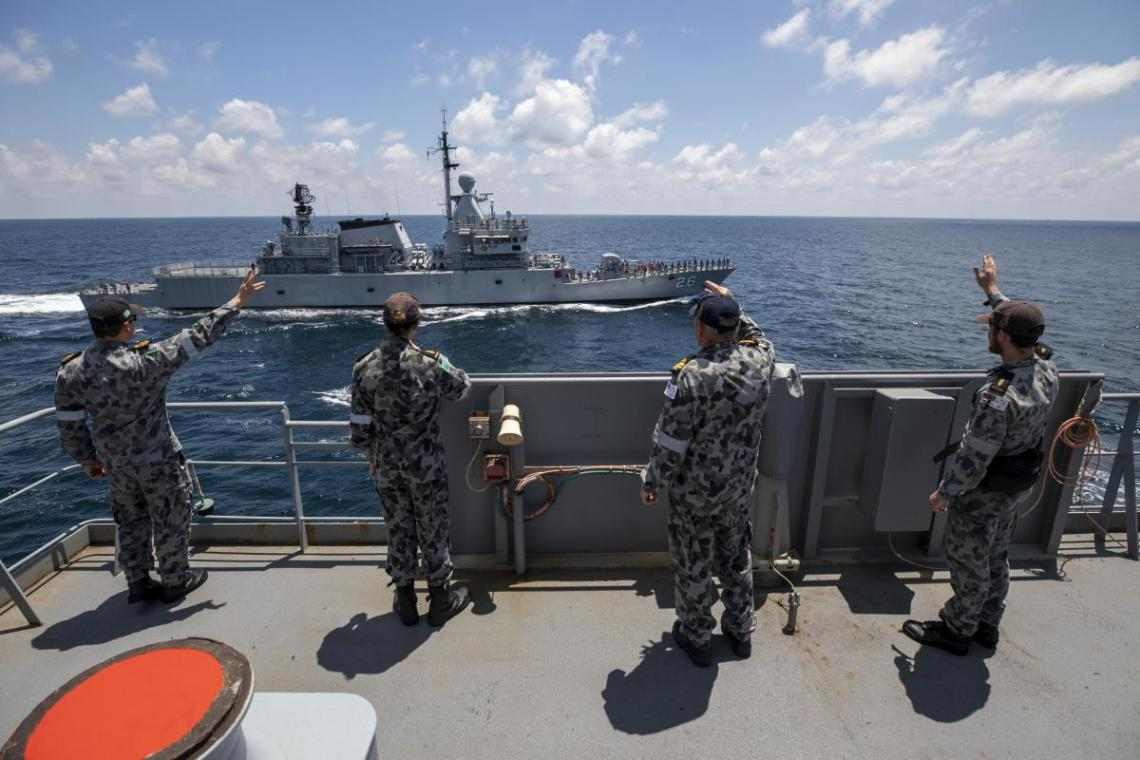 Royal Australian Navy HMAS Sirius Conducts Replenishment Royal Malaysian Navy KD Lekir