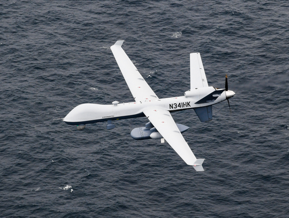 US Navy Unmanned Aerial Vehicle MQ-9B Sea Guardian Operates with Naval Assets