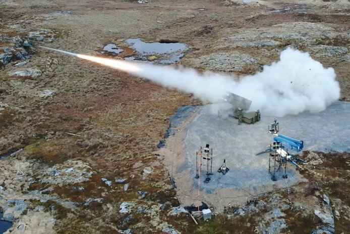 An AMRAAM-ER missile is fired from a NASAMS launcher during a test exercise at the Andoya Space Defense Center in Norway.