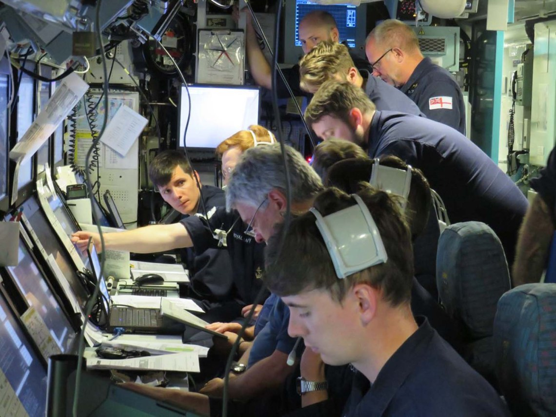 Crew on-board HMS Audacious during firing trial