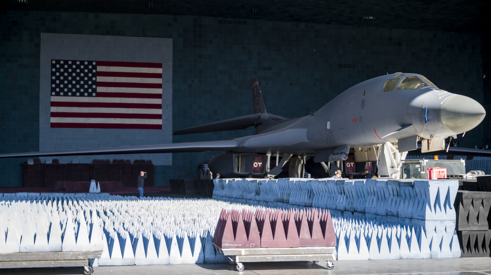 US Air Force B-1B Lancer Undergoes Electronic Warfare Testing in the Benefield Anechoic Facility