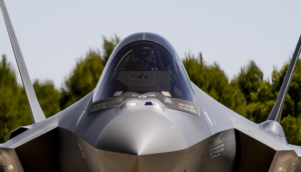 Two AN/AAQ-37 sensors just below the canopy, above the nose. Below the nose, the electro-optical targeting system