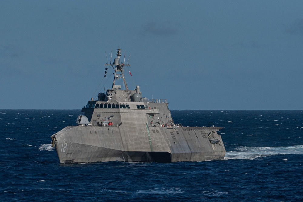 The Independence Class littoral combat ship USS Omaha (LCS 12) transits the Pacific Ocean during a Nimitz Carrier Strike Group (CSG) composite training unit exercise.