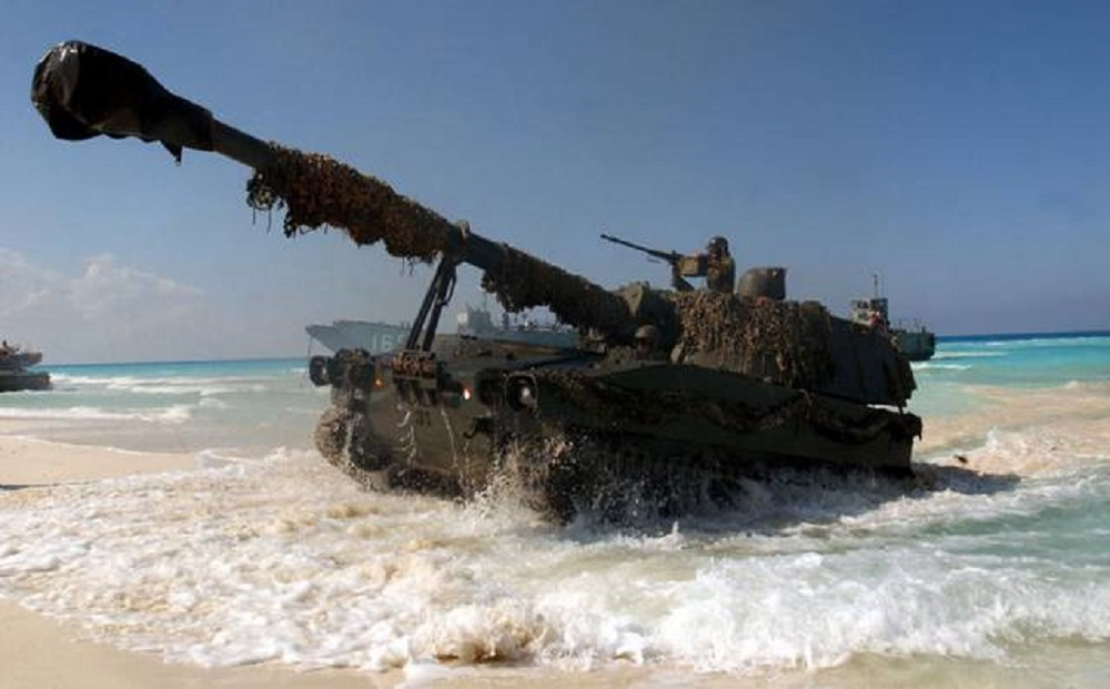 Spanish Army M109A5E 155 mm turreted self-propelled howitze,