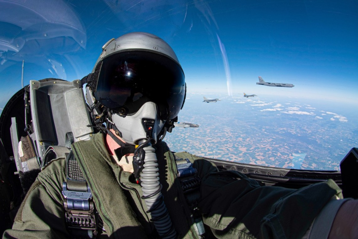 Allied Air Force Fighters Escort US Air Force Strategic Bomber Across All NATO Countries