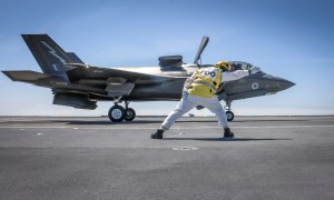 First F-35B Lightning Landing on Royal Navy Aircraft Carrier HMS Prince of Wales (R09)