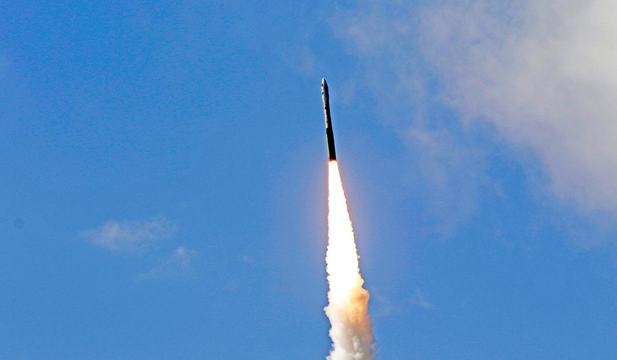 The Minotaur I rocket was launched from NASA's Wallops Island Flight Facility.