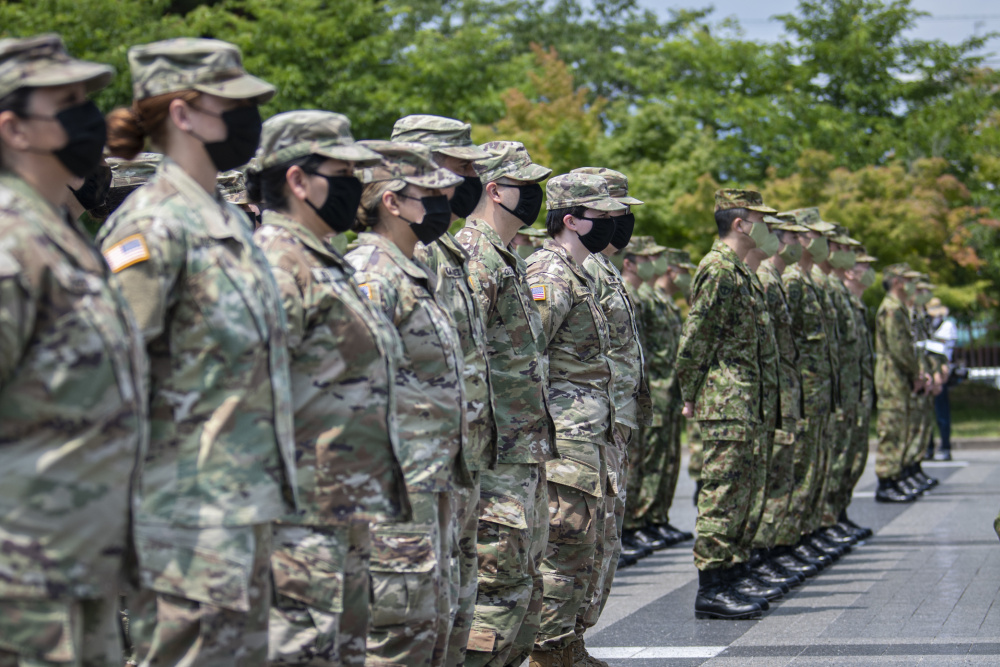 Members of the Japan Ground Self-Defense Force Middle Army, along with U.S. Soldiers from 40th Infantry Division and U.S. Army Japan, participated in the Orient Shield 21-2 opening ceremony at Camp Itami, June 24, 2021.