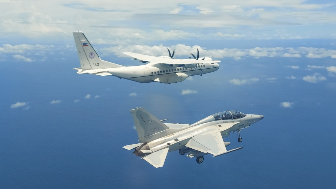Philippine Air Force C295 and FA-50s Conduct Maritime Patrol over Philippine Rise