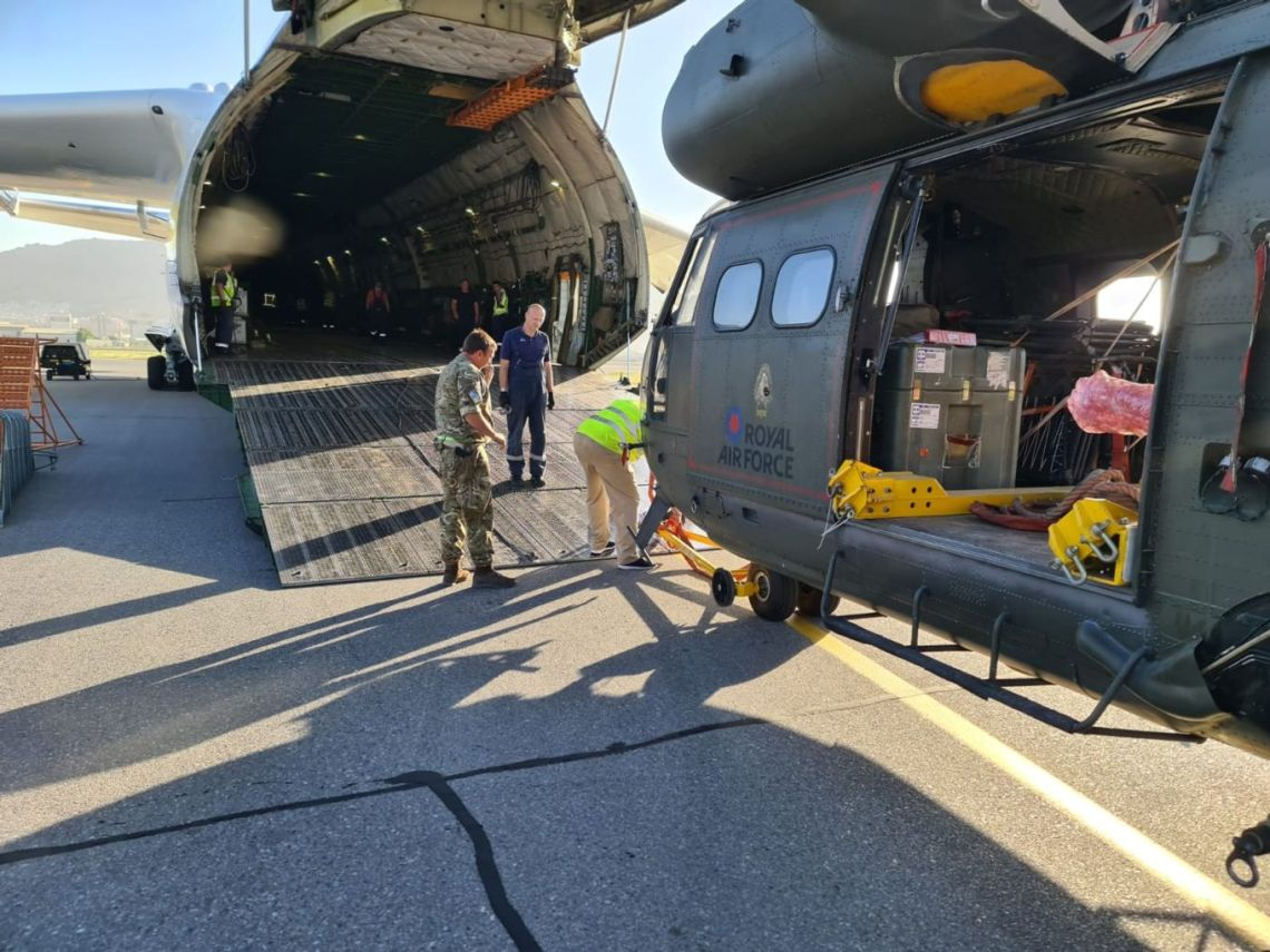 Royal Air Force engineers worked alongside the Movers and AN-225 crew to safely load the helicopters into the back of the Antonov for onward transport to RAF Brize Norton in the UK.