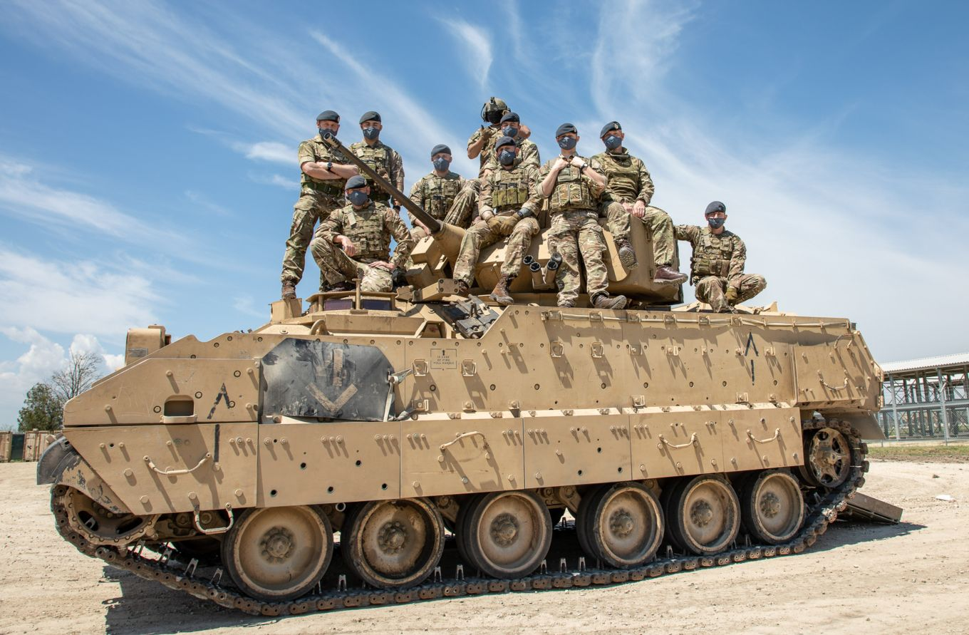 Royal Air Force Regiment Gunners on Operation Biloxi Train with US Army Cavalry Unit