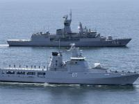 Royal Australian Navy HMAS Parramatta on Training Manoeuvres with Royal Brunei Navy Ships