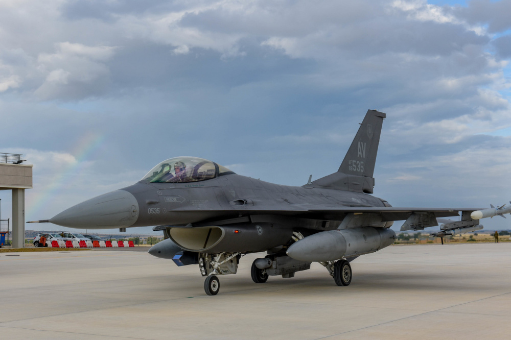 U.S. Air Force F-16 Fighting Falcon assigned to the 555th Fighter Squadron taxis