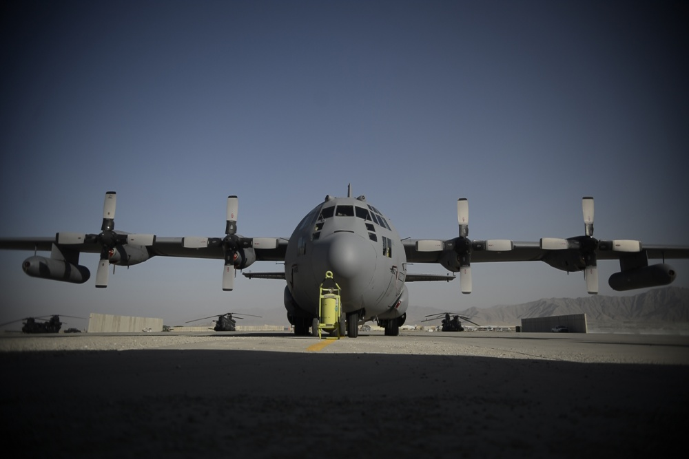 U.S. Air Force EC-130H Compass Call aircraft is configured to execute worldwide information warfare tactics.