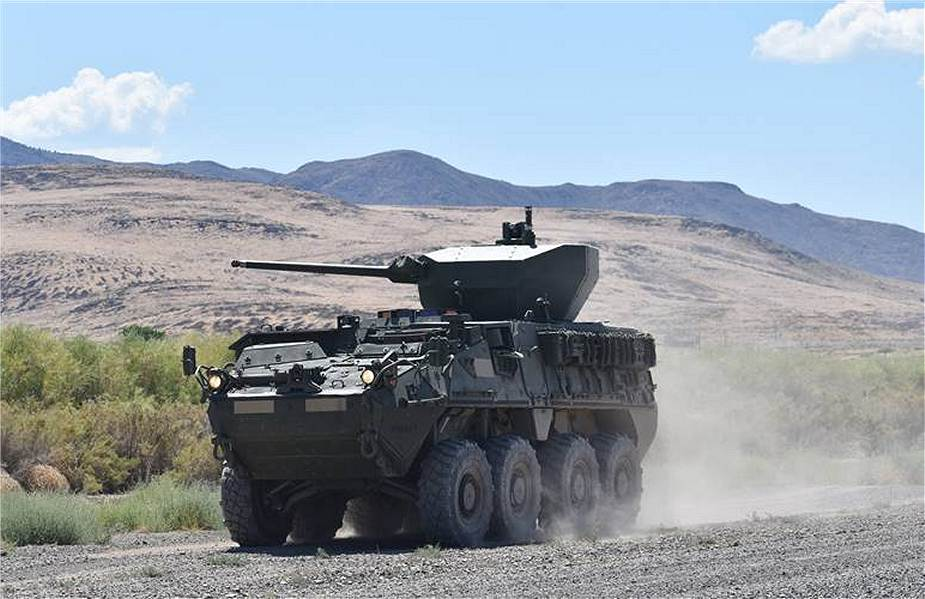 Stryker Double V hull infantry carrier vehicle fitted with Samson 30mm weapon station