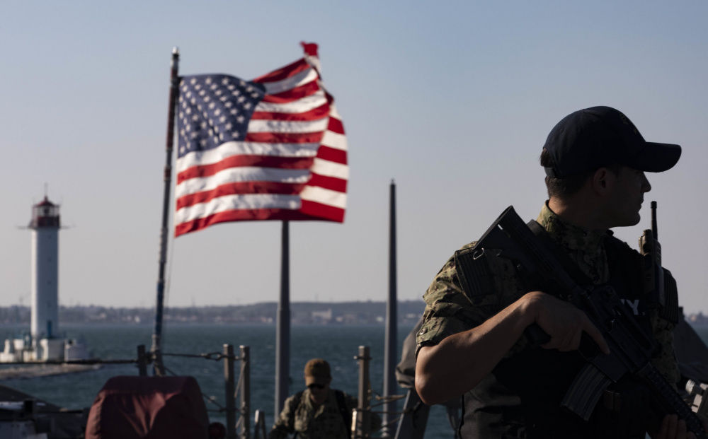 Fire Controlman (Aegis) 2nd Class Emilio Orozco-Murcia stands watch aboard the Arleigh Burke-class guided-missile destroyer USS Ross (DDG 71) in Odesa, Ukraine for participation in Exercise Sea Breeze 2021, June 27, 2021.