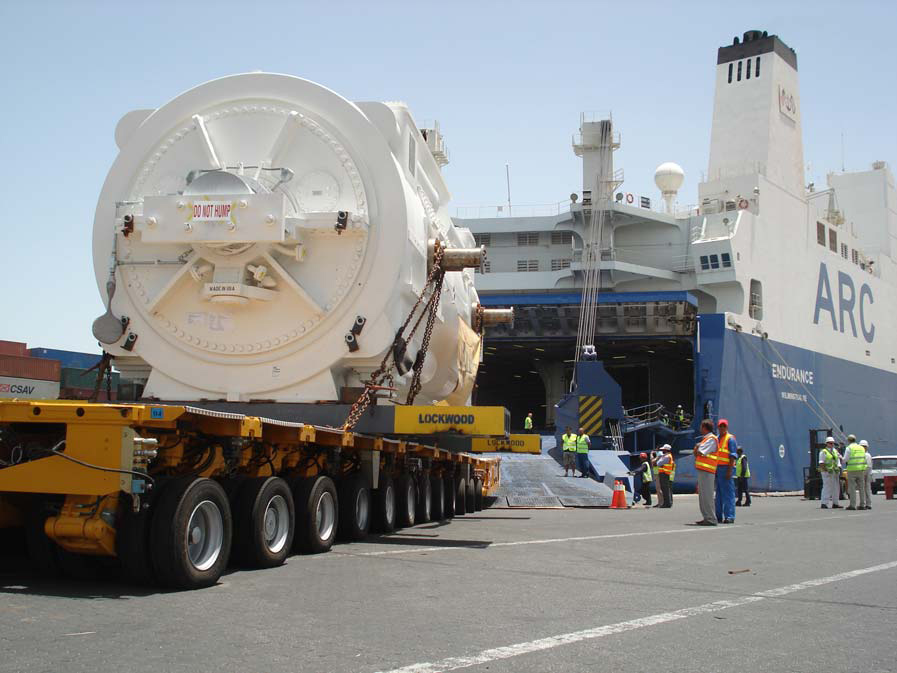 ARC specializes in large, static units. Here, a massive turbine arrives for loading