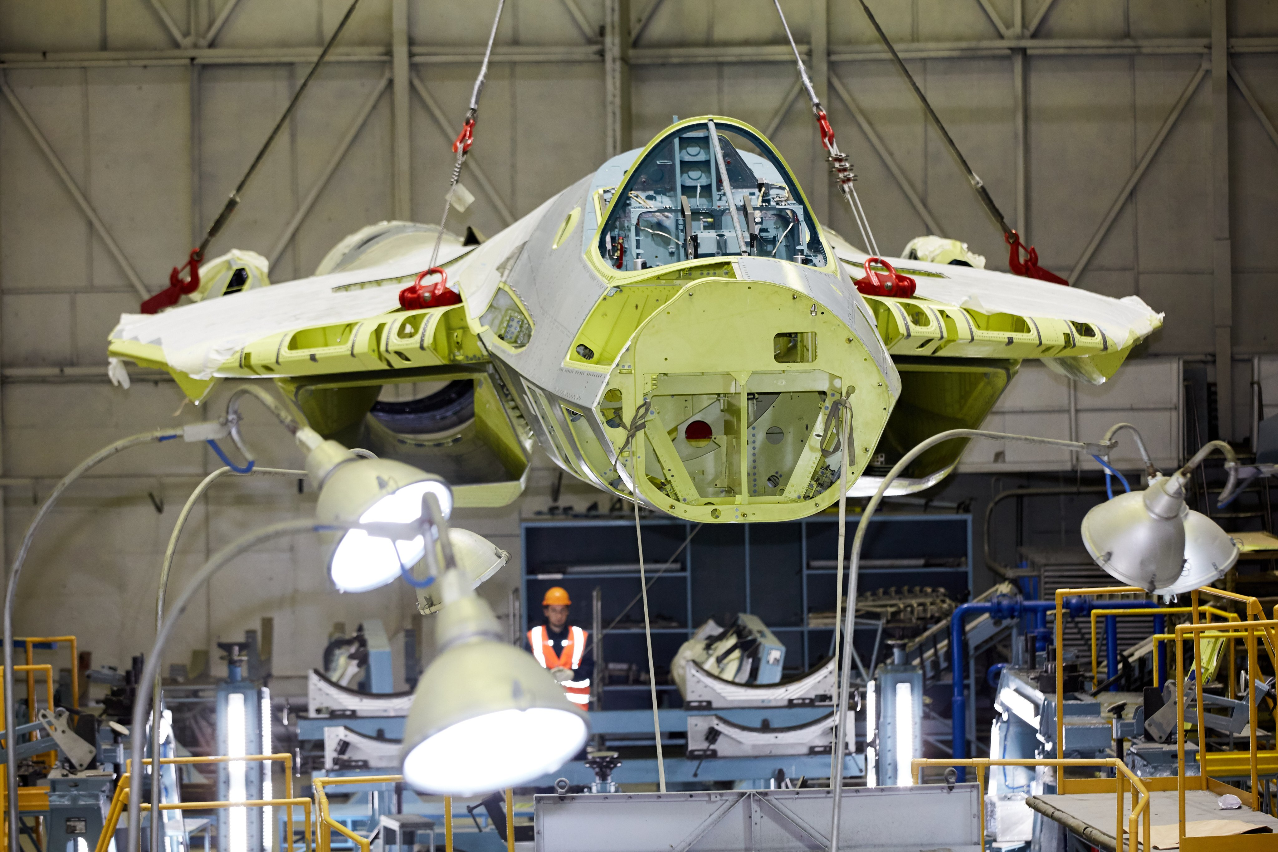 Sukhoi Su-57 at the assembly shop of the Komsomolsk-on-Amur Aircraft Plant