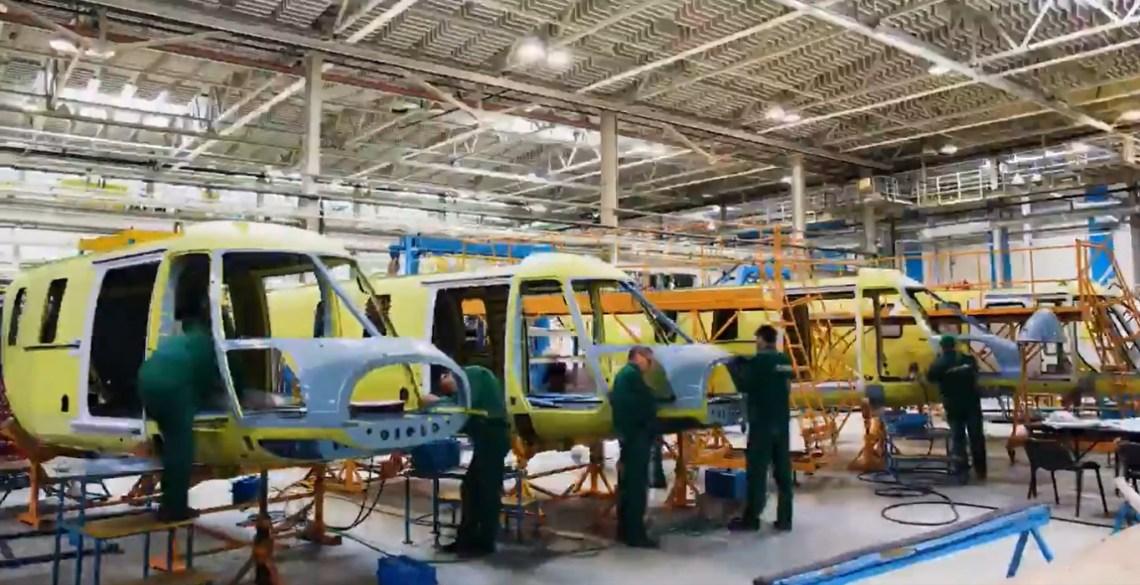 Kazan Ansat Production line in the final assembly shop at Kazan Aviation Plant.