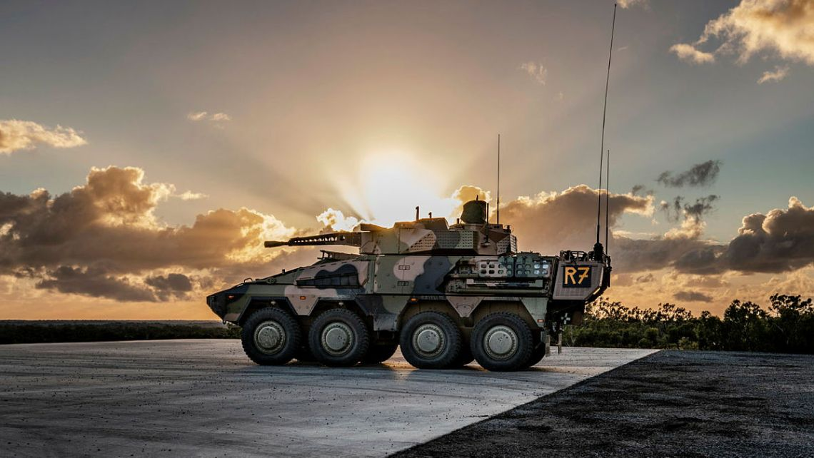 An Australian Army Boxer Combat Reconnaissance Vehicle stands on the firing point at Wide Bay Training Area, Queensland during a turret conversion course.