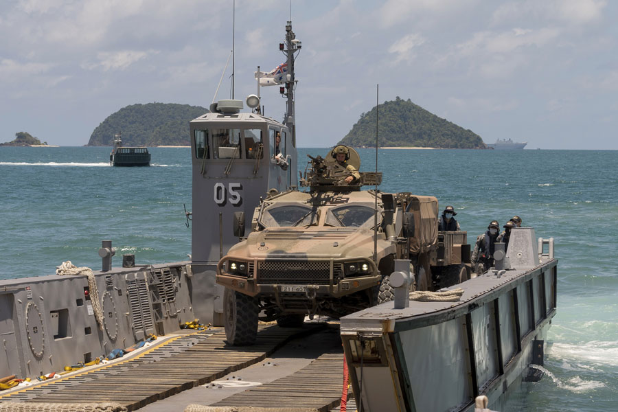 Australian Army Hawkei Protected Mobility Vehicles were also transported from Cowley Beach to HMAS Adelaide during the recent amphibious landing capability demonstrations