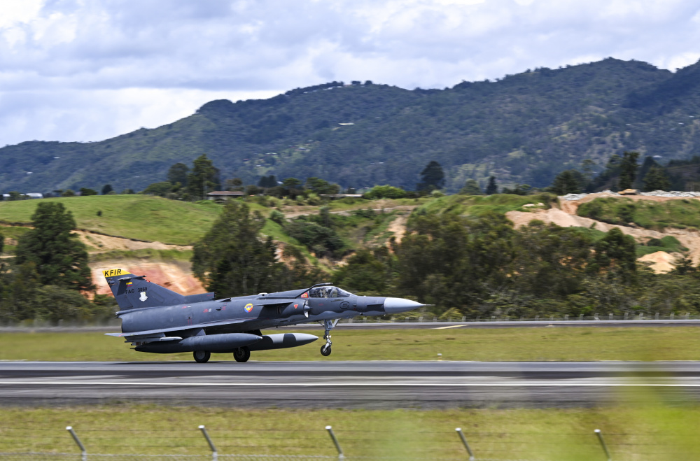 A Colombian Air Force Kfir assigned to Comando Aereo de Combate No.1 (CACOM 1) takes off during Exercise Relampago VI at Comando Aereo de Combate Number 5 (CACOM 5) in Rionegro, Colombia, July 13, 2021.