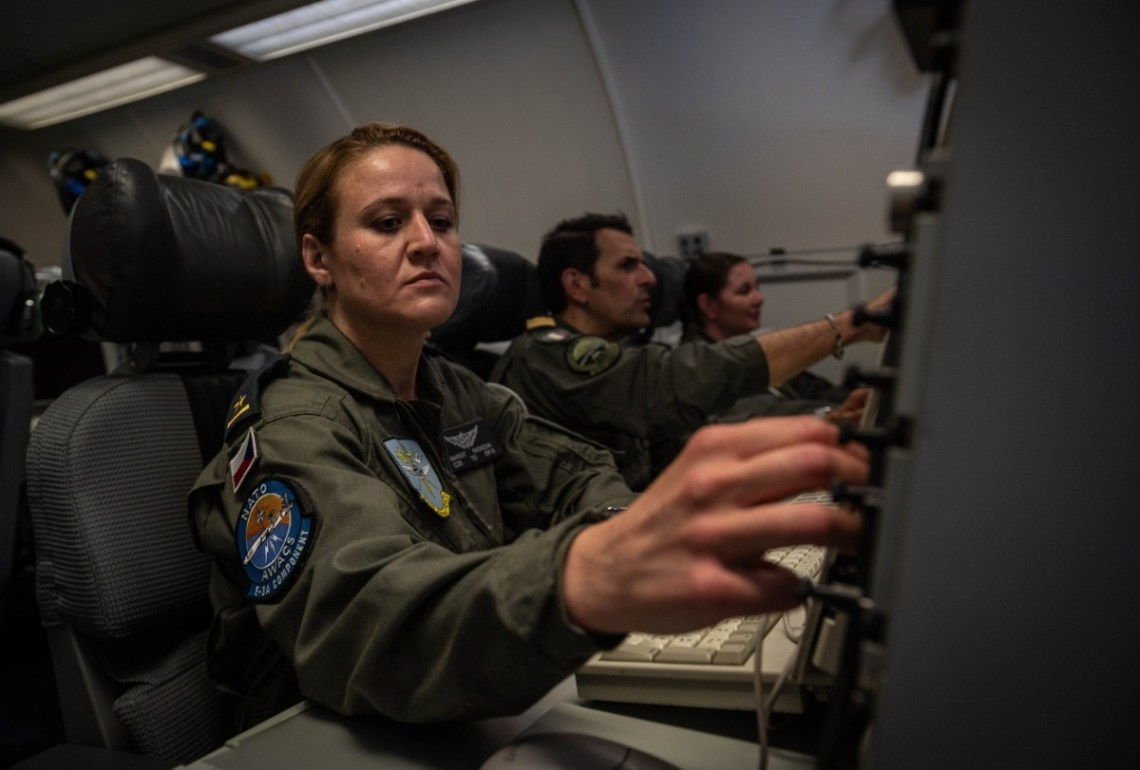 NATO E3-A weapons controllers direct NATO fighters to intercept aircraft during Exercise Ramstein Alloy. Photo courtesy of SHAPE PAO.