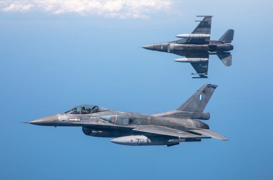 Two Hellenic Air Force F-16 fighters viewed from the C-27 during the training on July 2. Photo Crown Copyright.