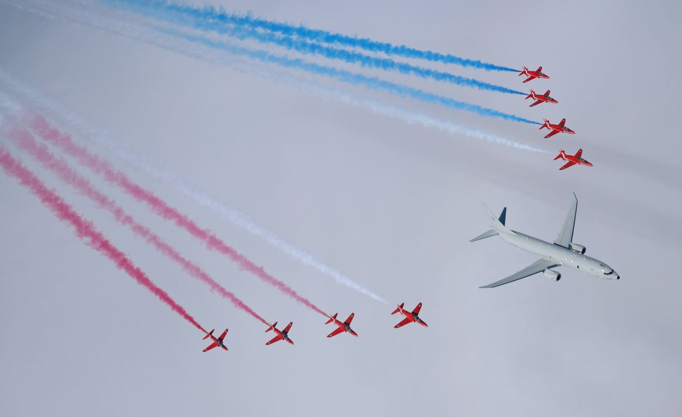 Royal Air Force's New Poseidon MRA1 Submarine-hunter Aircraft First Flight with Red Arrows Aerobatic Team