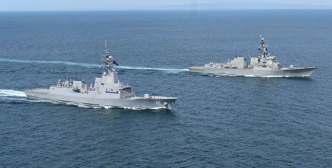 HMAS Sydney and USS John Finn conduct a passage exercise in the Southern California Exercise Area in the United States.