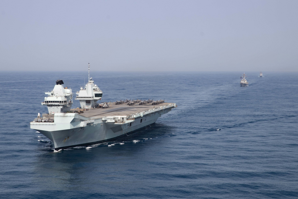 Royal Navy aircraft carrier HMS Queen Elizabeth (R 08), guided-missile destroyer USS Halsey (DDG 97) and guided-missile cruiser USS Shiloh (CG 67) operate in formation in the Gulf of Aden, July 12.