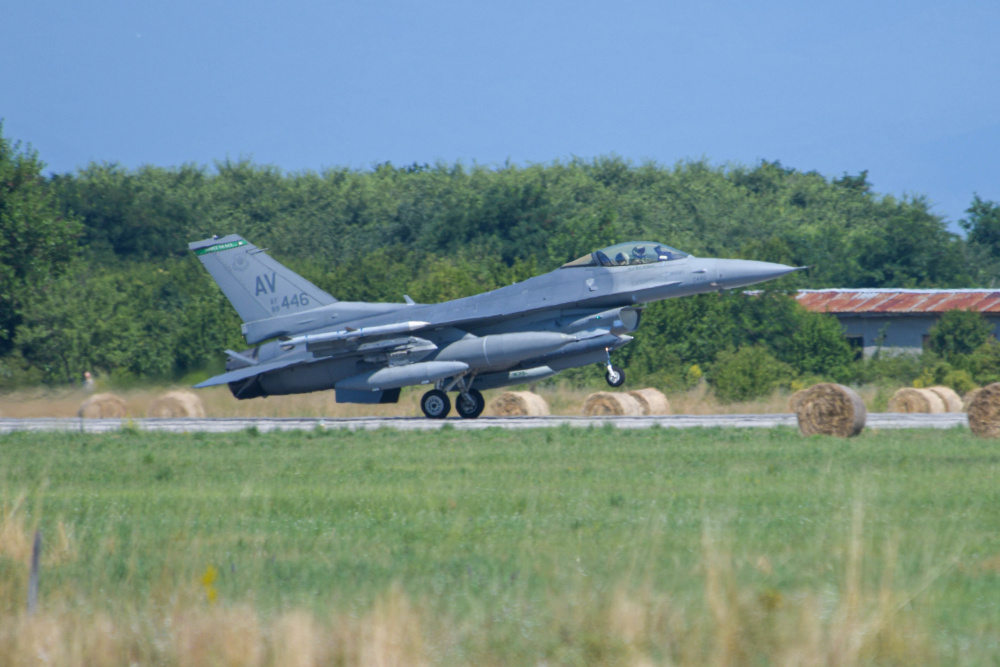 A U.S. Air Force F-16 Fighting Falcon assigned to the 555th Fighter Squadron lands at Graf Ignatievo Air Base, Bulgaria, for exercise Thracian Star 21, July 9, 2021.