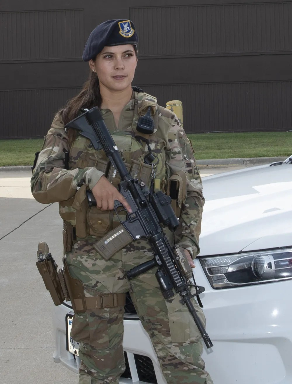 Airman 1st Class Samantha Boyer, 55th Security Forces Squadron, stands guard on June 25, 2021, while wearing the new body armor specifically designed for a better fit for females in the Air Force. The new vests have been available to Offutt female defenders since the end of May 2021.