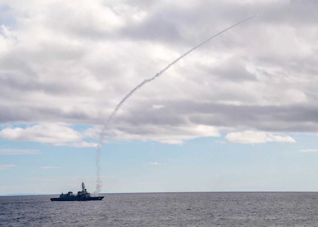 Japan Maritime Self Defense Force Takanami-class destroyer JS Makinami (DD 112) conducts a VLRIM-7M live-fire missile exercise during exercise Pacific Vanguard 2021.