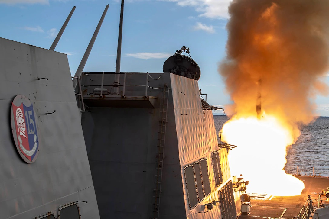 The Arleigh Burke-class guided-missile destroyer USS Rafael Peralta (DDG 115) fires a SM-2 missile during exercise Pacific Vanguard 2021.