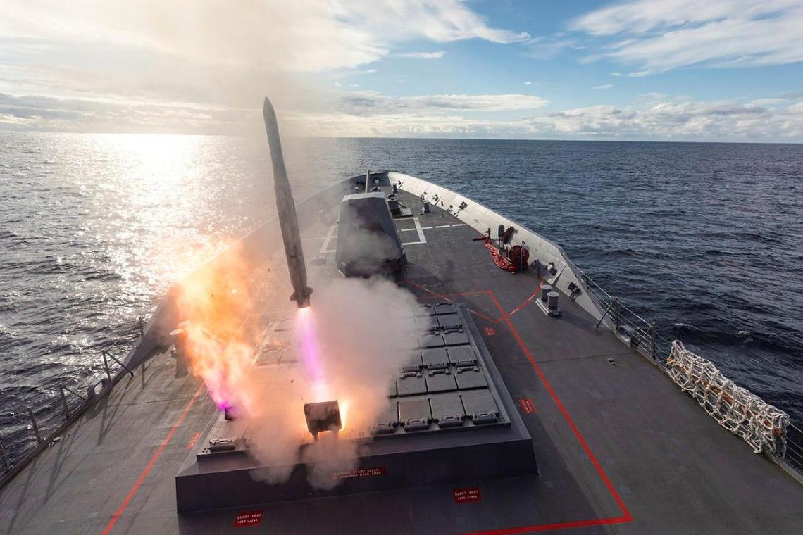 HMAS Brisbane launches its Evolved Sea Sparrow Missile during Exercise Pacific Vanguard.