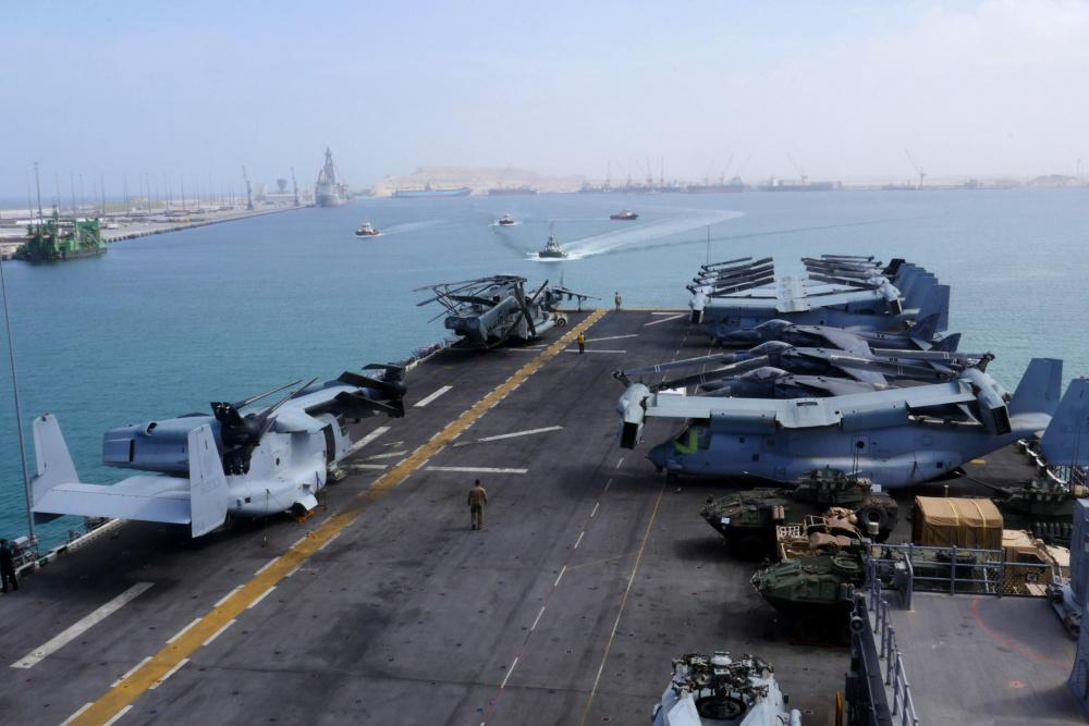 Amphibious assault ship USS Iwo Jima (LHD 7) arrives in Duqm, Oman, to conduct a sustainment and logistics visit, July 16.