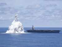 US Navy USS Gerald R. Ford (CVN 78) Completes Second Full Ship Shock Trial Event