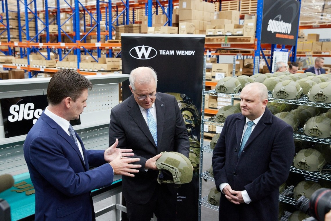 The HON Scott Morrison, Prime Minister of Australia, previewed Aquaterro's refurbishment and SPPE capabilities during his visit to Aquaterro Headquarters in May 2021, where the Prime Minister was among the first to see the new Combat Ballistic Helmet Technical Inspection and Refurbishment process, now operating within the new Building 2.
