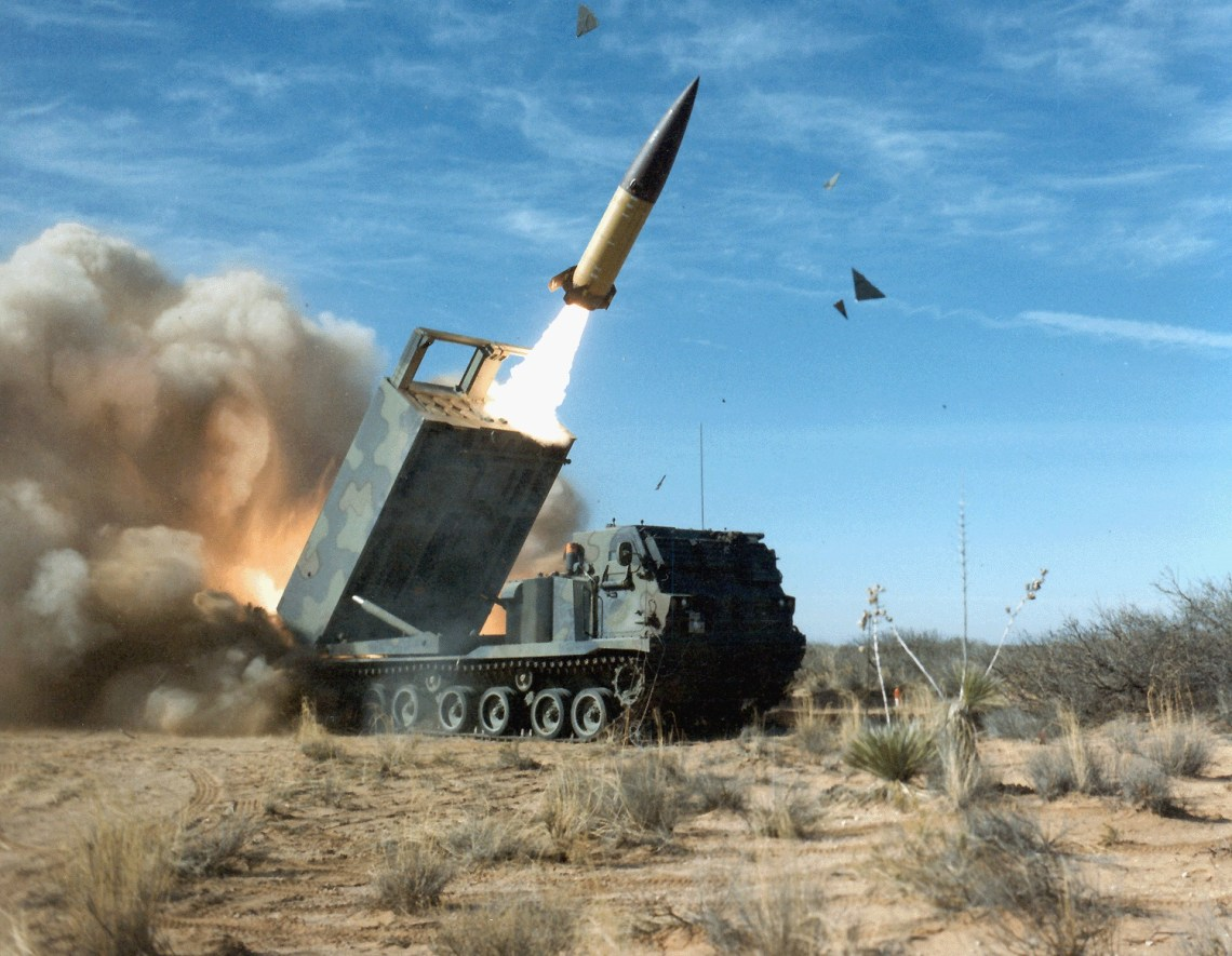 An Army Tactical Missile System (ATACMS) being launched by a M270