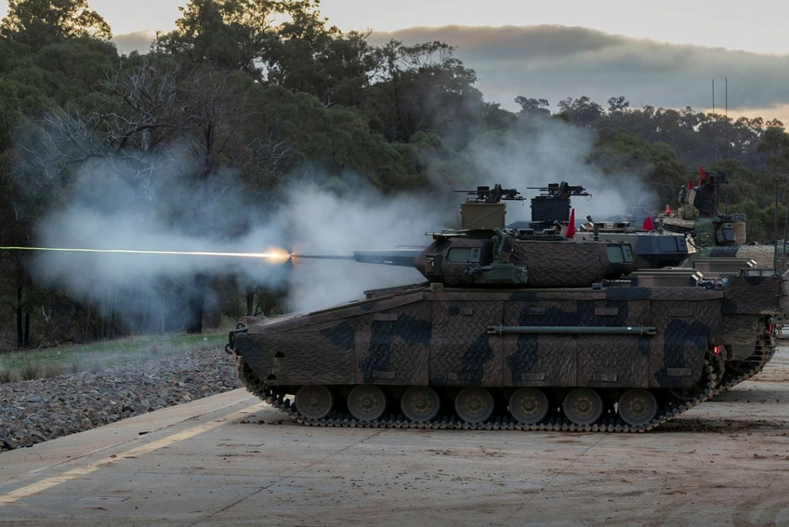 Hanwha Defense Australia Redback Infantry Fighting Vehicles conduct a live fire demonstration during LAND 400 Phase 3 user evaluation trials at Puckapunyal Military Area, Victoria.