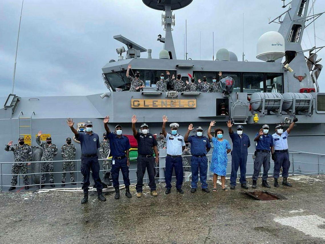 HMAS Glenelg's Ship's Company with Vanuatu Police Maritime Wing staff alongside Port Vila, Vanuatu during Operation ISLAND CHIEF 21.