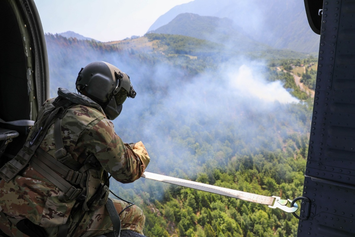 NATO's Kosovo Force (KFOR) Assists Local Firefighting Efforts in Western Kosovo