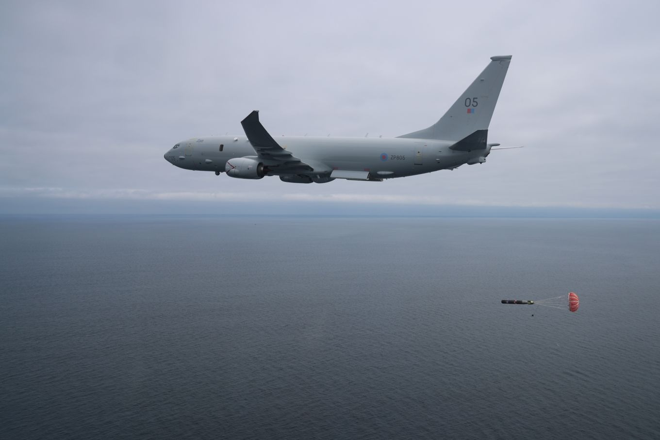 Royal Air Force P-8A Poseidon Maritime Patrol Aircraft Releases Torpedo for the First Time