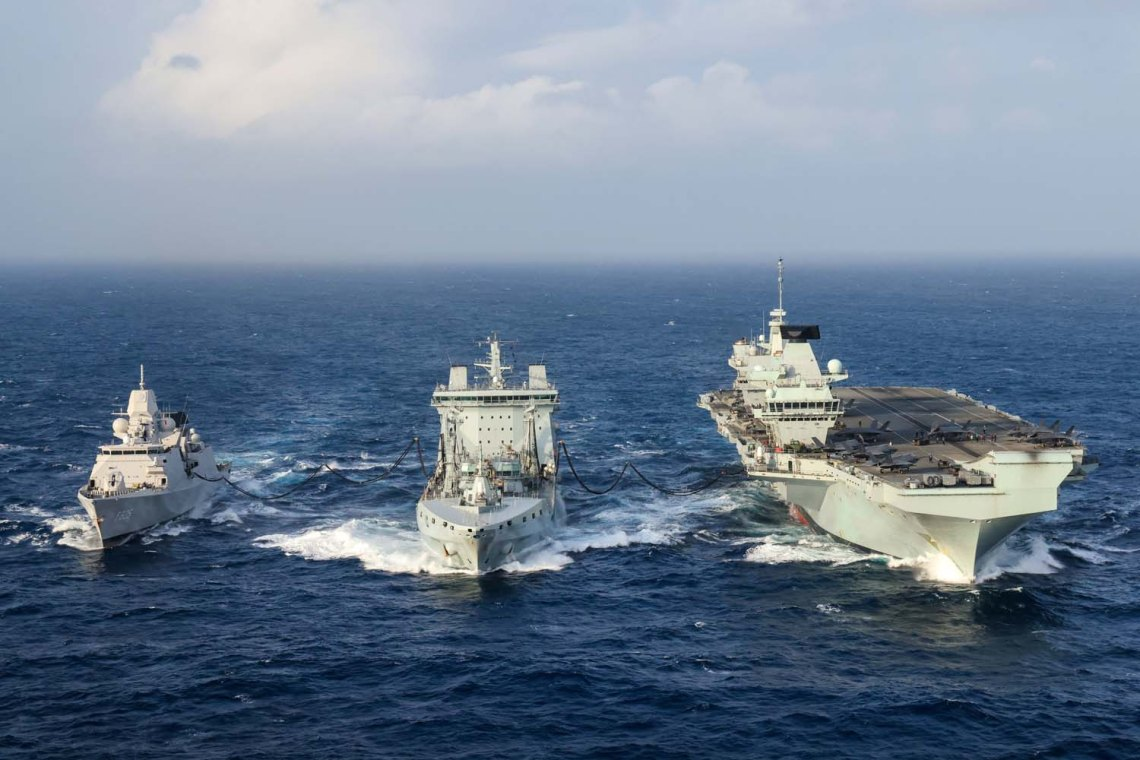 HNLMS Evertsen, RFA Tidespring and HMS Queen Elizabeth to conduct a double replenishment at sea.